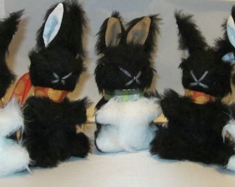 Baby Black Bunny Rabbit Stuffed Black and White Toy Adoptive Intro Toy Shower Basket Bedroom Decor Pram or Cot Toy Nursery Mobile Small Toy