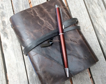 Dark Weathered Brown Leather Journal / Notebook /Diary / Made in Australia.
