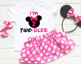 Twodles Birthday Outfit, Minnie Mouse Second Birthday Outfit, Two Year Old Birthday Outfit Girl, Pink Birthday Outfit, Mouse Ears Headband