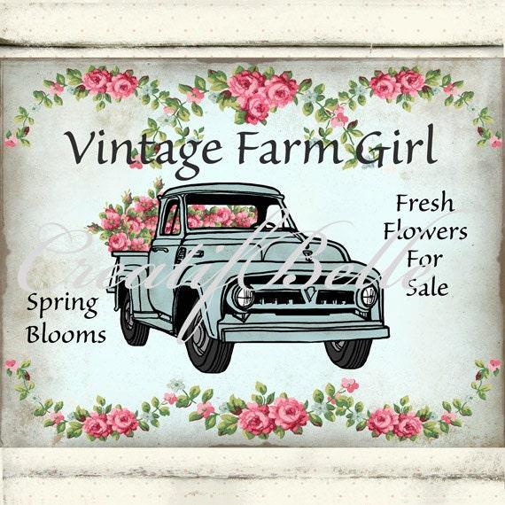 Shabby Chic Hand Drawn Vintage Farm Girl Aqua Flower Truck
