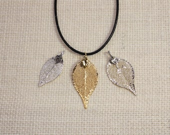 SALE Leaf Necklace, Silver Evergreen Leaf, Silver Leaf, Real Leaf Necklace, Gold Leaf, Boho Necklace, Silver Leaf Pendant, SALE145