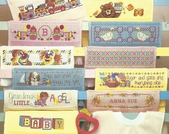 Vintage CROSS STITCH designs for Baby BIBS 3511 - American School of Needlework 1988
