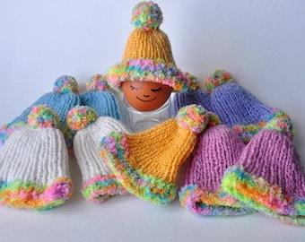 Set of 10 hand knitted mini hats, Mini Knitting Hat, Miniature Hat Ornaments, Doll Hat, Easter Egg Hats, Egg Cozies