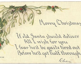 Vintage - Merry Christmas - F A Owen Co - Dansville New York - Postcard 1413B
