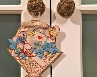 Vintage Valentine Decoration Handmade Vintage Antique Victorian Chic Heart Bluebird