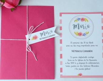INVITATIONS, communion invitations, girl children's invitations, birthday girl