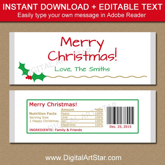 Christmas Candy Bar Wrapper Template Printable Holiday