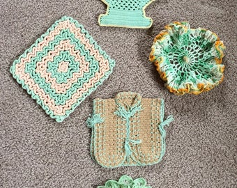 Vintage Trivets, Doilies, Pot Holders, Collection of Five, Jadeite Green with Yellow tone accents, Clean