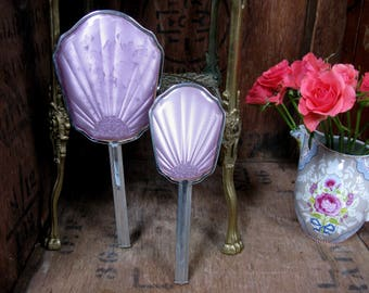 Vintage Vanity Set, Vintage Vanity Mirror, Vintage Hair Brush, Hand Mirror, Dressing Table Set, Lilac Vanity Set, 1960s Vanity Set, Silver