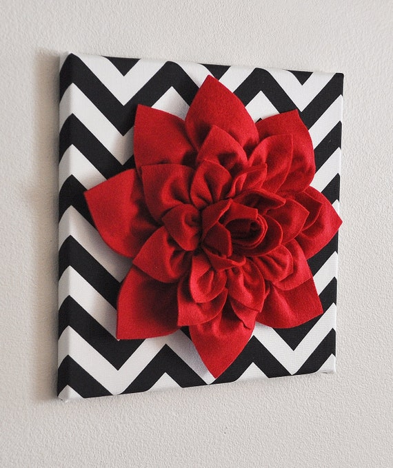Perfect Red Wall Flower Red Dahlia on Black and White Chevron 12 HX88