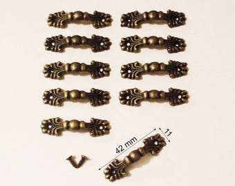Set of 10 Mini handles for drawer Cabinet than craft locker 42 x 11 mm screws