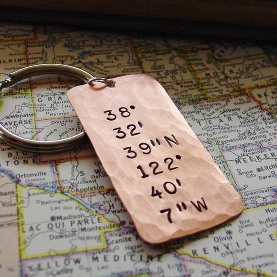 Latitude Longitude Keychain Hand Stamped Coordinates