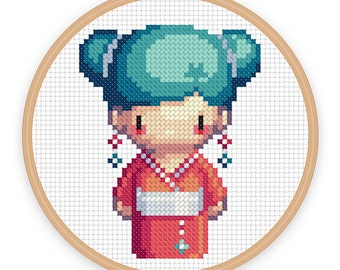GEISHA GIRL MISAKI: a pixel art counted cross stitch pattern - digital download - printable pdf file