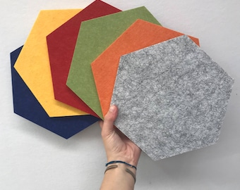 NEW COLOURS Acoustic Felt Hexagon Pin-board DIY Art Heat Mat Trivet Coaster Wall Art