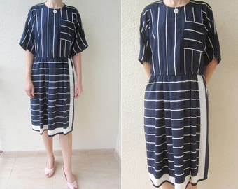 LESLIE FAY 70s 80s vintage Navy Nautical striped print day dress