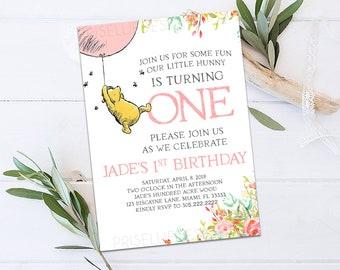 Classic Winnie the Pooh Birthday Invitation, Winnie the Pooh Birthday Invitation, Floral Girl Winnie the Pooh Birthday Invitation Party