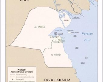Kuwait map Etsy