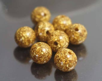 6mm/8mm/10mm/12mm Gold Foil Beads,Smooth and Round Stone Beads,20 pcs