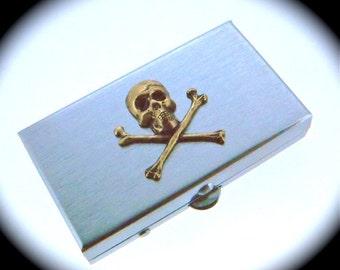 Skull Pill Box Skull & Crossbones Tiny Size Silver Pill Case Gothic Victorian Steampunk Pill Case Pirate Pill Box Handcrafted Metal Pillbox