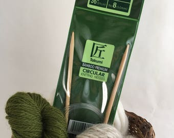 Clover Takumi Premium Bamboo CIRCULAR Knitting Needles - Size 8  (5mm, UK 6)  - 36""