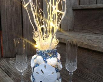 Beach Wedding Centerpiece, Seashell Lighting Reception Table, Tropical Wedding Centerpiece, Destination Wedding Decorations