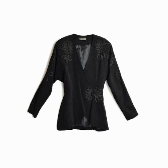 Vintage 90s CASADEI Black Dolman-Sleeve Jacket / Floral Embellished Jacket / Power Shoulders  - women's medium