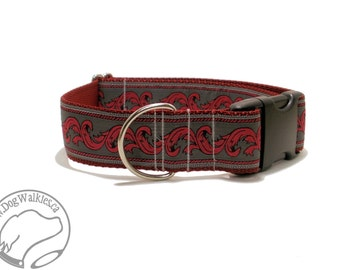 """Red Dragon Fire Dog Collar // 1.5"""" (38mm) Wide // Martingale or Quick Release // Choice of collar style and size // Charcoal // Deep Red"""
