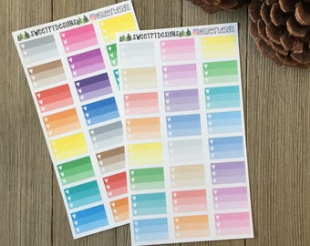 Ombre box Planner Stickers for TN pocket inserts, SMC pocket inserts, Mini HP and other small planners
