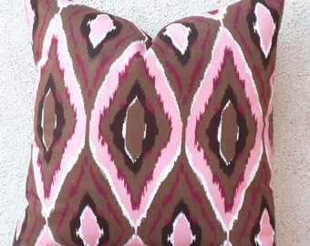 Ikat Pillow Covers, Decorative Pillow, Boho Pillows, Brown and Pink, Printed Ikat, Accent Pillow, Cushion Covers - 20 x 20  - 1 pair - ct34C