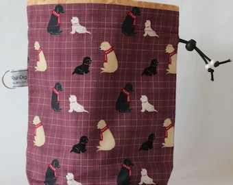 Small drawstring project bag dogs in scarves