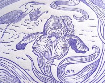 Purple Iris & Heron Art Nouveau Wood Engraving Print