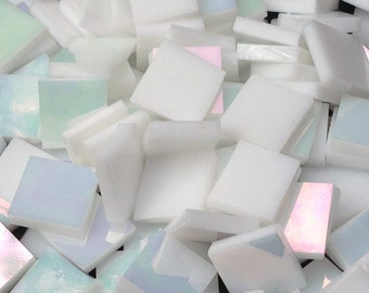 White Iridescent Mosaic Tiles