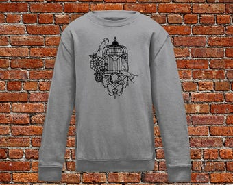 Bird cage sweater, bird sweater, bird tattoo, tattoo sweater, classic tattoo art, old school sweater, hipster gift, gift for tattoo lover