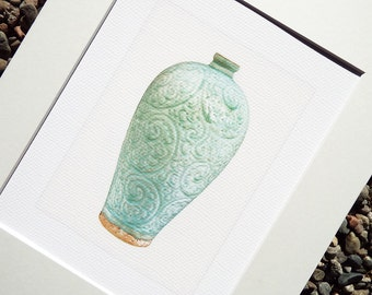 Chinoiserie Celadon Green Porcelain Scroll Vase Antique Illustration Archival Print