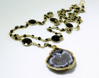 Featured in British Vogue Half Geode Pendant Geode Jewelry One of a Kind Stone Gold Bezel Chain Opera Length Necklace BZ-N-112-HG-g