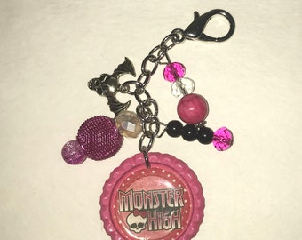 Handmade Bottlecap clip-ons or keychains Pink and Black Monster High Bat