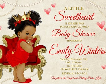 Sweetheart Baby Shower Invitation, Valentine, Valentine's Day, Princess, Red, Gold, Hearts, Baby - Digital or Printed