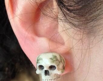 "Hand carved antler ""Triumph style"" skull stud earrings"