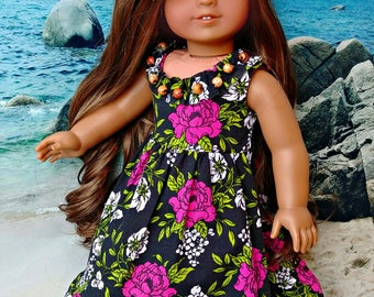 "Black Hawaiian Tropical Doll Sundress Set with Pink Flowers -- Dress and Flower Clip -- American Made for Your 18"" Girl Doll"