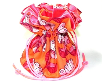 Jewelry Drawstring Travel Bag - Organizer Pouch - Orange, coral, red and white floral fabric - Mothers Day gift idea