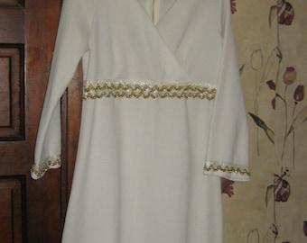 retro mod 1960  Crimplene white with gold metallic trim with   white decor disco dress