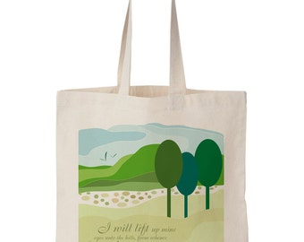 The Hills Canvas Tote Bag - Green, yellow, tote, Bible Art, Art, Painting, Christian Art, Bible, Natural Canvas tote, natural, cotton, hills