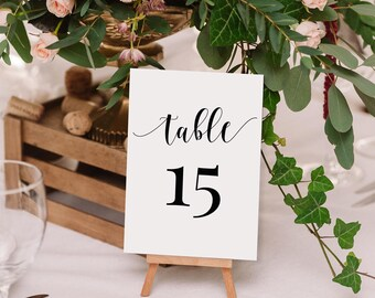 Printable Table Numbers 1-60 - 4x6 inches Double and Single sided - Instant Download - Calligraphy style script - Editable PDF - #GD0107