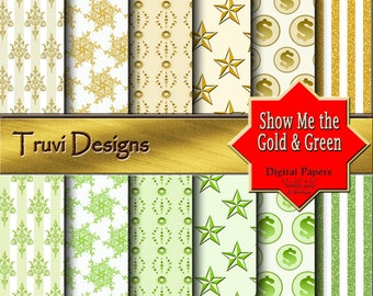 Show Me the Gold & Green Digital Papers, Instant Download, Paper Packs, Pattern Prints, Scrapbooking Paper