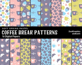 Coffee Break Patterns Soft Spring Pastel, 16 Digital Papers 12x12, Pattern File PAT Included, Seamless, Commercial Use, INSTANT DOWNLOAD
