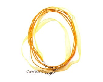 2 Orange 43 cm yellow waxed cotton thread and organza Ribbon necklaces
