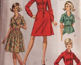 Vintage 60s Uncut Simplicity 7823 Dress Pattern-Size 16 1/2 (39-32-41)