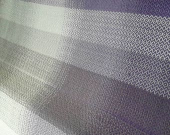 HANDWOVEN FABRIC Wrap Scrap, W 75 cm x L 60 cm 100 % Cotton Purples and Greys Mixed Twills Weave, Mixed Colors Weft, Full Wrap Width