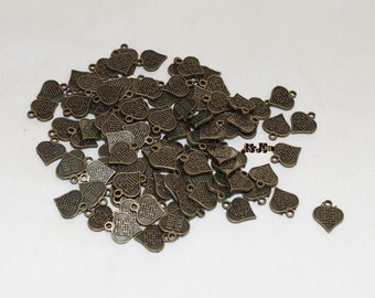 12 Charms, Chinese Coin, Antique Bronze.. Heart, Double Happy.