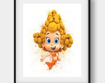 Bubble Guppies Print, Bubble Guppies, Bubble Guppies Art, Deena Printable, Deena Disney, Deena Art, Deena Print, Nursery Wall Art, Kids Art